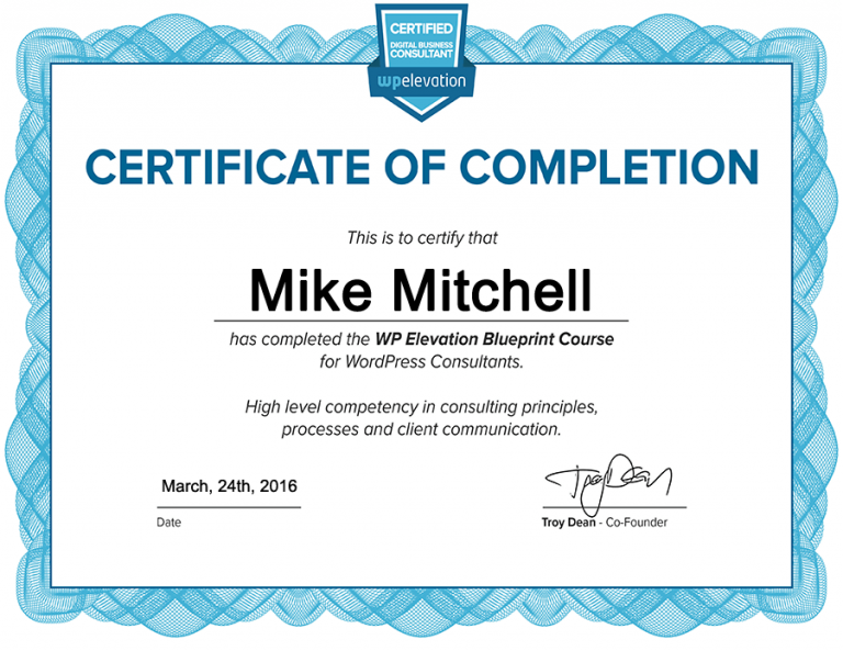 Certifiicate of completion as a WP Elevation Digital Business Consultant