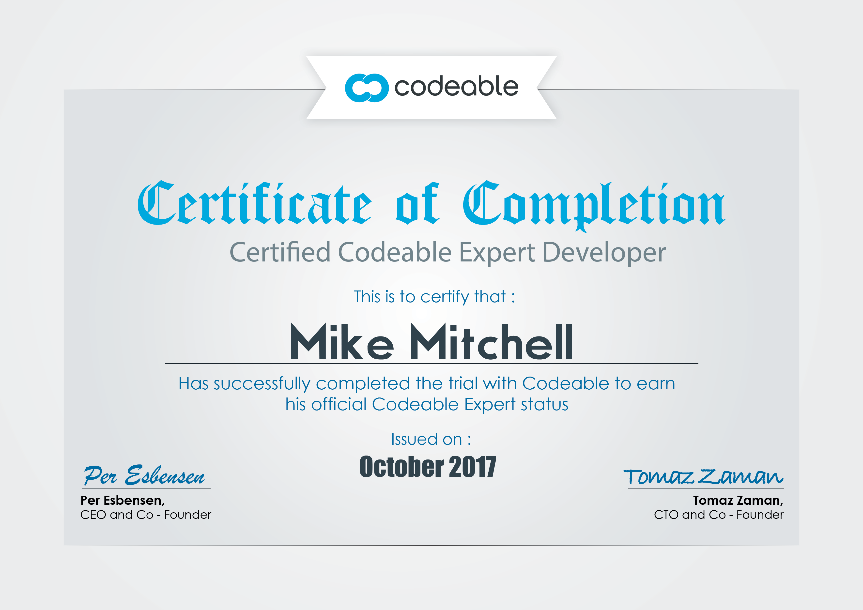 Certifiicate of completion as a Codeable Certified Expert